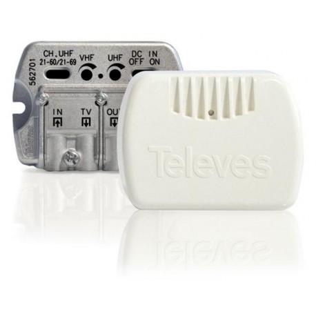 Amplificador vivienda 2salidas + tv V/U 20 dB